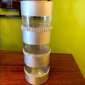 Beautifully gem detailed grey colored vase